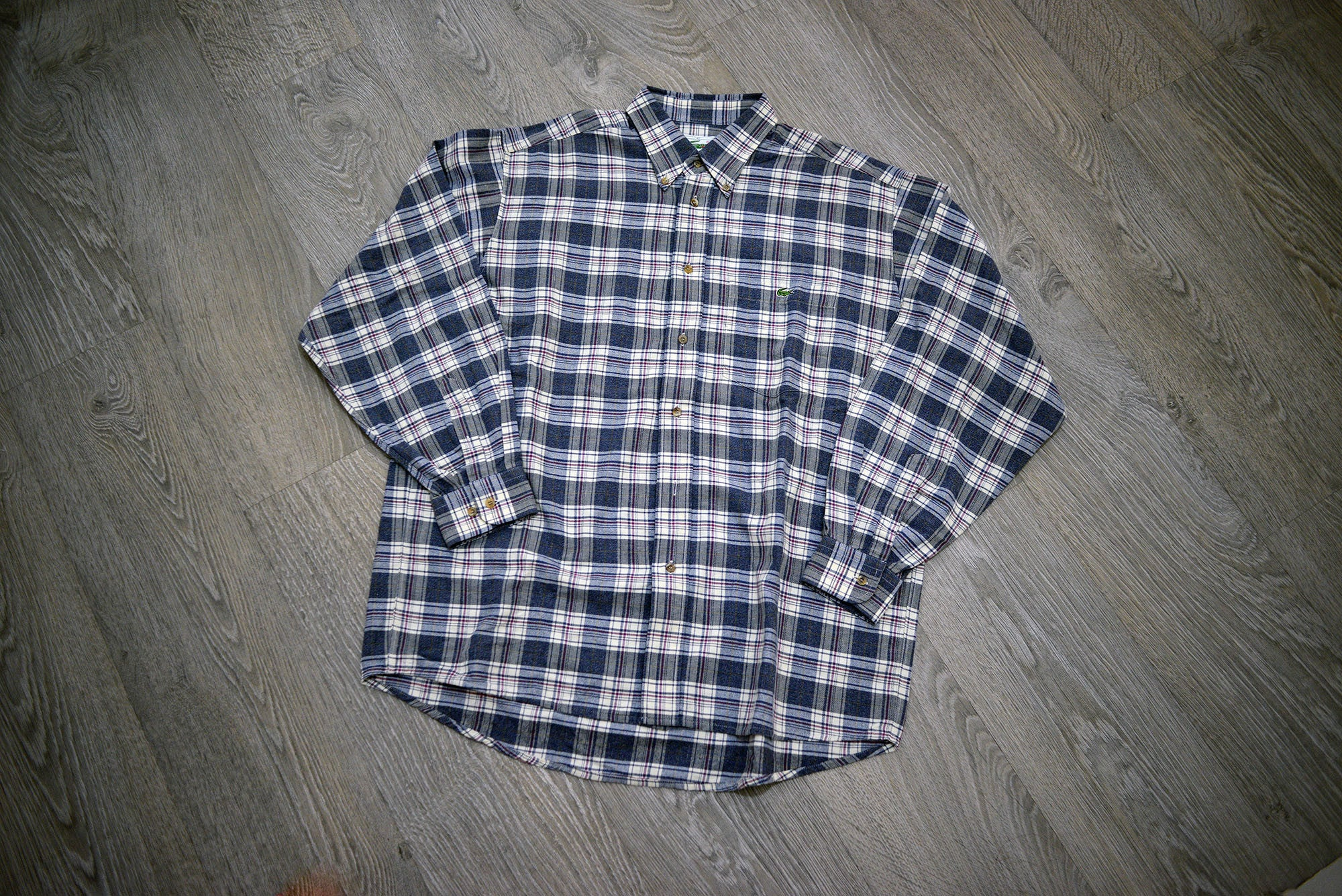 Vintage Lacoste Checked Blue Plaid Patterned Long Sleeve Shirt