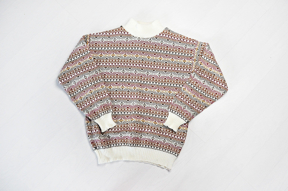 Vintage Cream Turtle Neck Knit Jumper/Sweater w/ Geometric Patterns