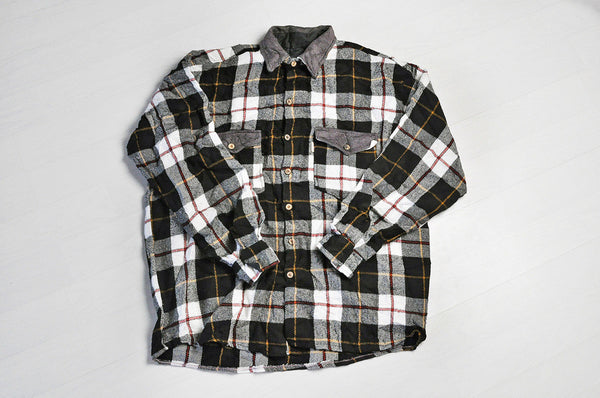Vintage Black/White Check Flannel Long Sleeve Over Shirt