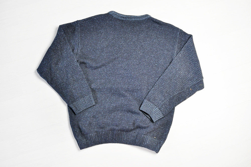 Vintage Speckled/Lined Patterned Navy Knit Jumper/Sweater