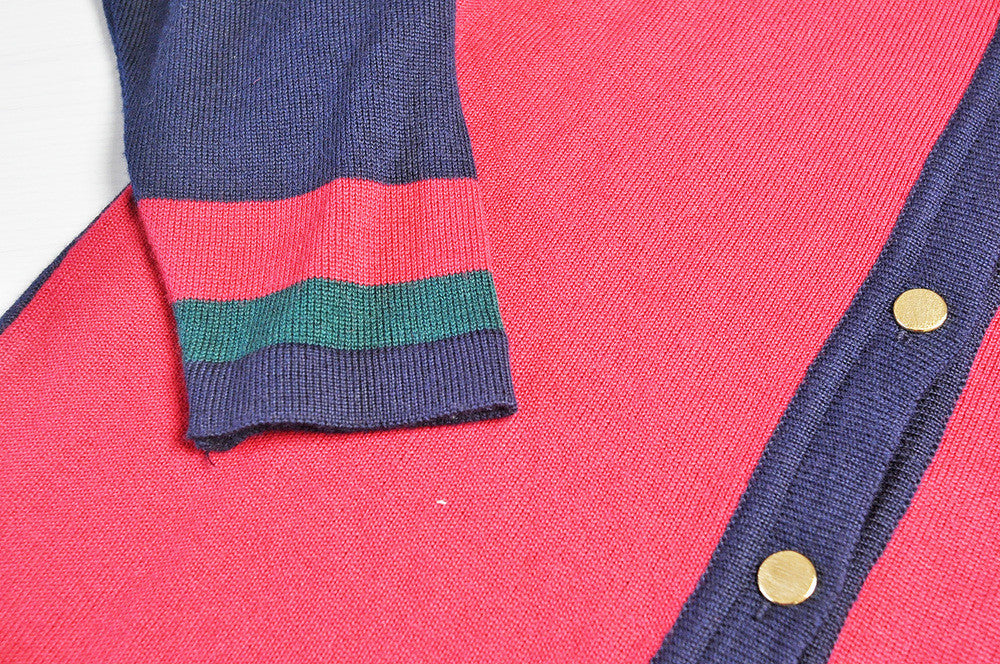 Vintage Tri-Colour Knit Longline Cardigan w/ Gold Buttons