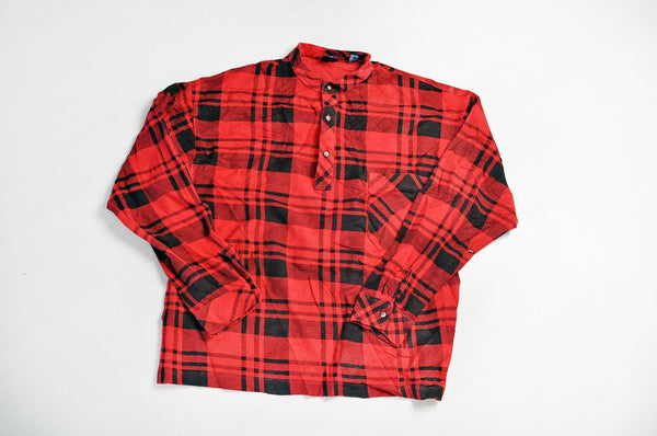 Vintage GAP Half Way Buttoned Granddad Collar Red Over Shirt