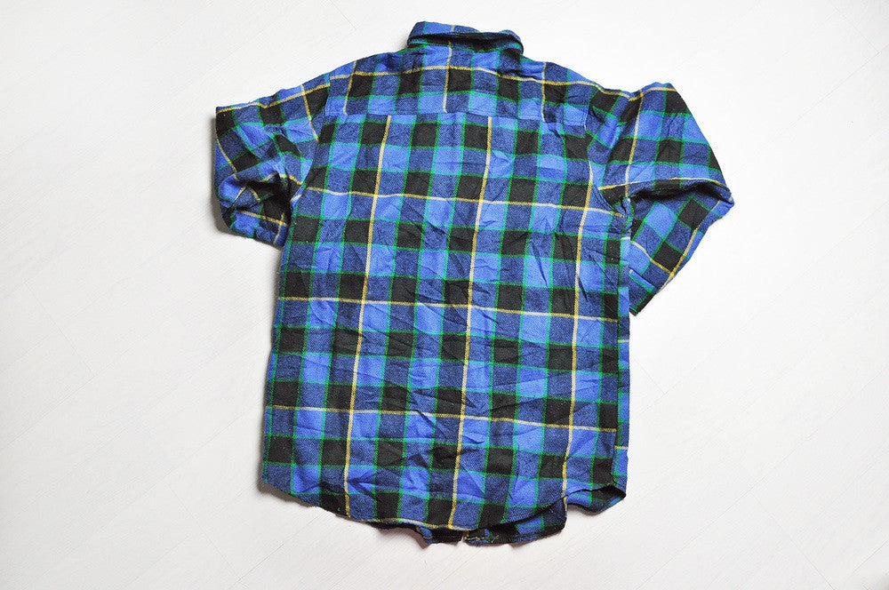 Vintage Blue/Black Checked Flannel Long Sleeve Shirt