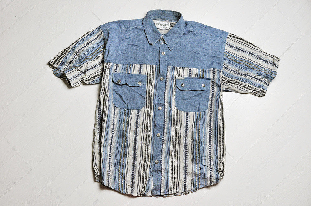 Vintage Blue Corduroy/Stripped Pattern Short Sleeve Shirt