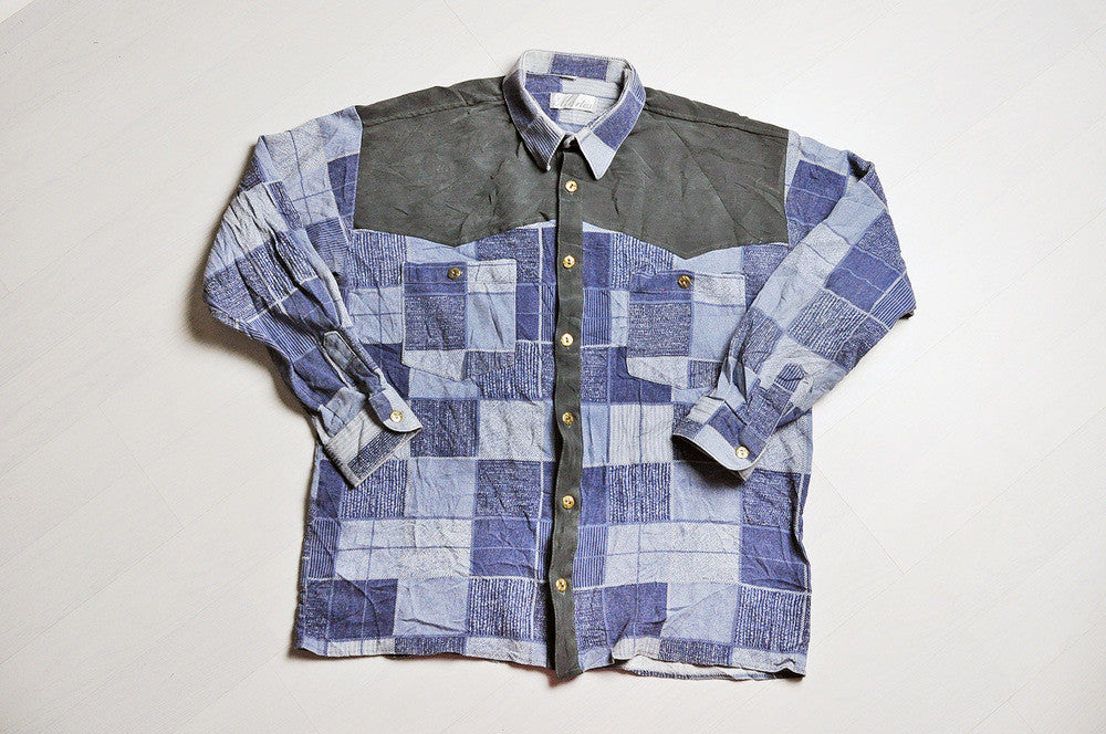 Vintage Patchwork Navy Blue Corduroy Patterned Long Sleeve Shirt
