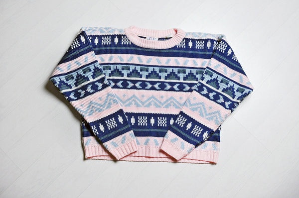 Vintage Baby Pink/Blue Geometric Patterned Knit Cropped Jumper/Sweater