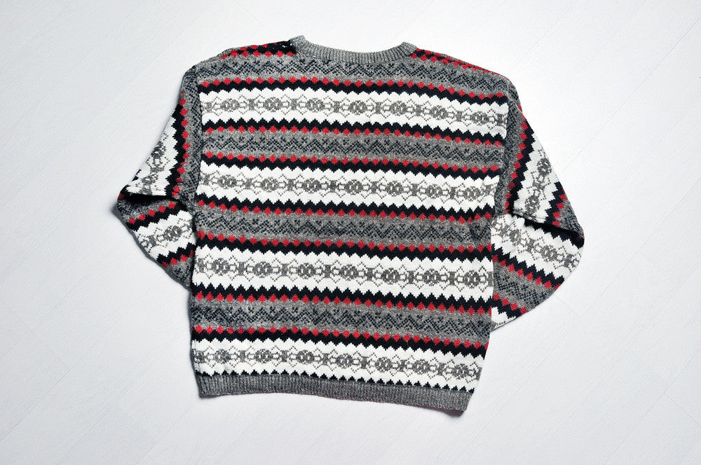 Vintage Geometry Lined Patterned Knit Jumper/Sweater