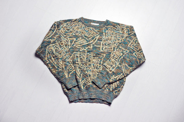 Vintage Squiggly Lined Patterned Khaki Green Knit Jumper/Sweater