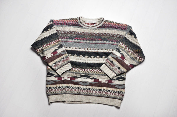 Vintage Embossed Granddad Patterned Knit Jumper/Sweater
