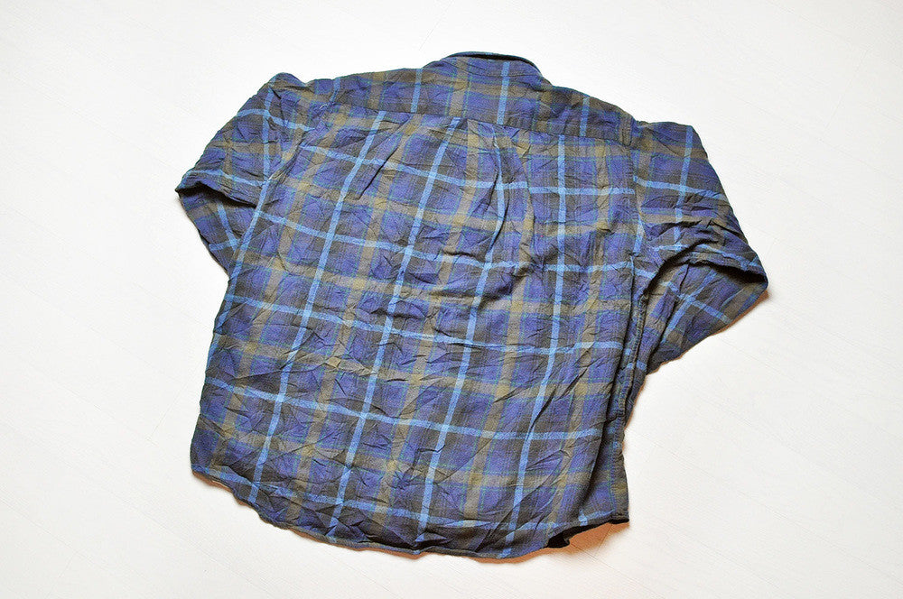 Vintage L.L.Bean Blue Checked Plaid Long Sleeve Oxford Shirt