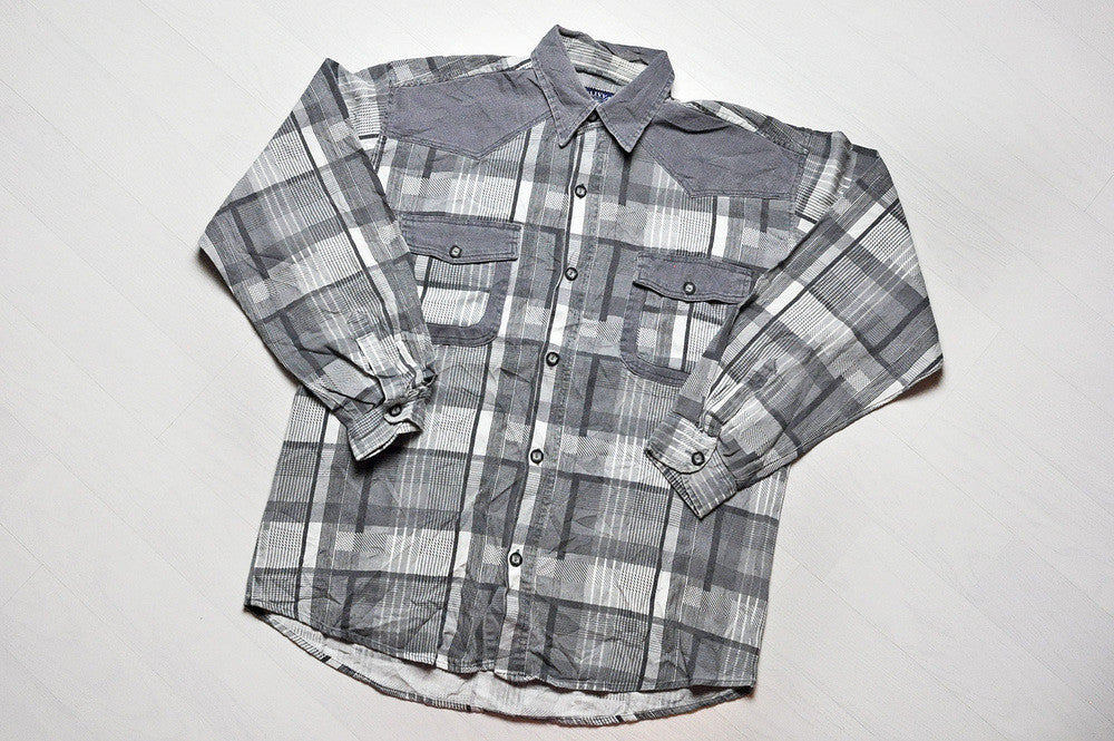 Vintage Grey Checked Flannel/Cord Patched Long Sleeve Shirt