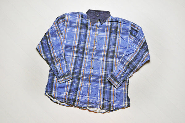 Vintage Navy Blue Checked Corduroy Plaid Long Sleeve Shirt