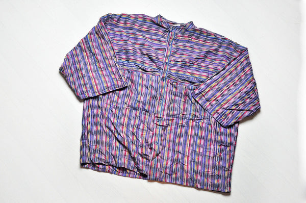 Vintage Purple Gypsy Striped Pattern 3/4 Sleeve Granddad Collar Shirt