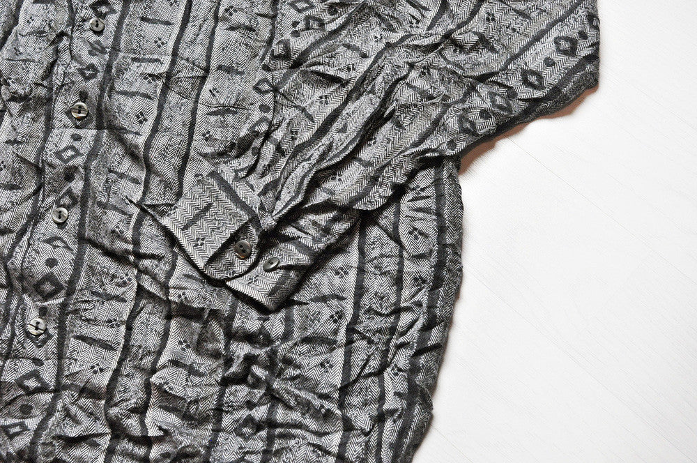 Vintage Black/Grey Crazy African Patterned Long Sleeve Shirt