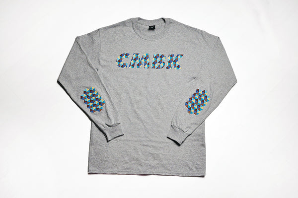 CMBK Blue Harlequin Grey Long Sleeve Tee