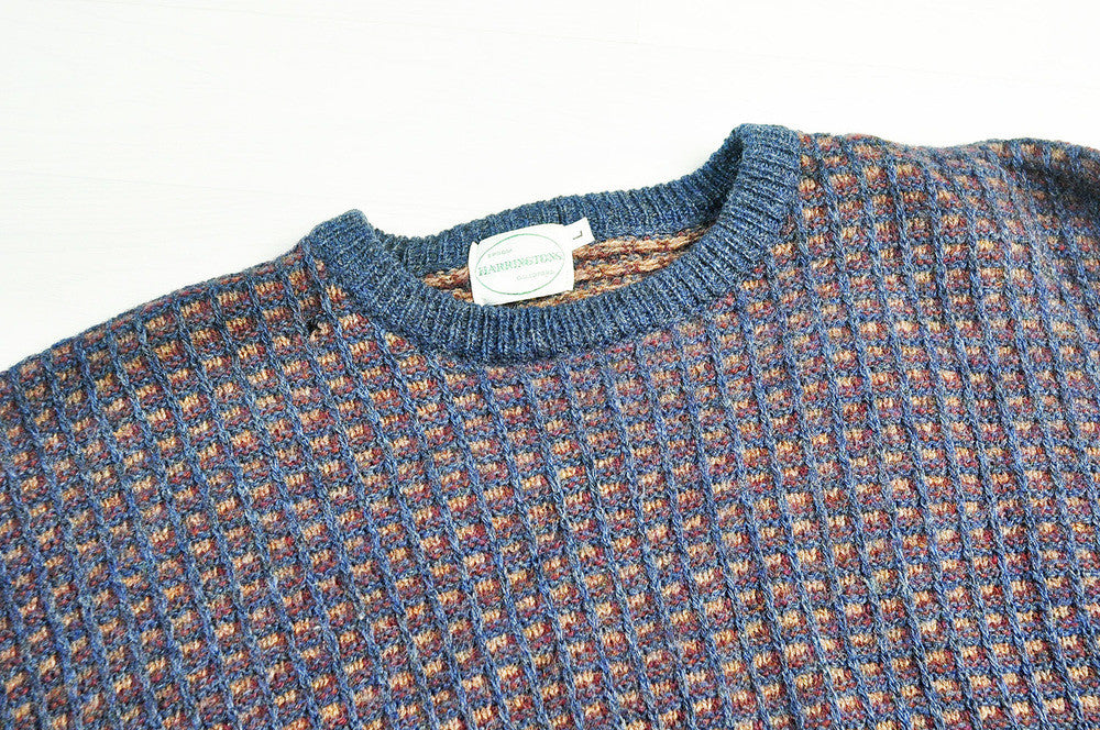 Vintage Navy Grid Pattern Knit Jumper/Sweater