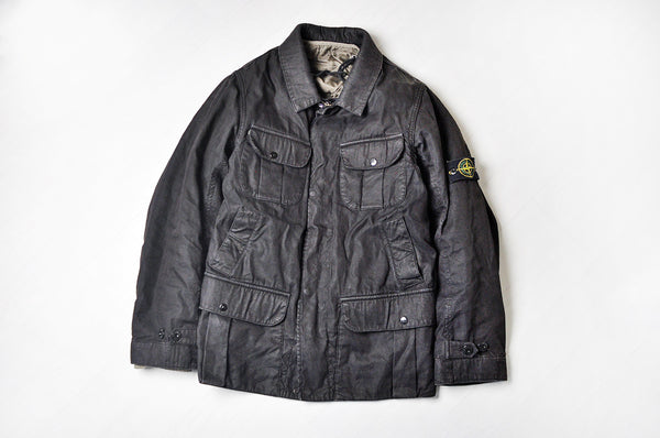Vintage Stone Island Black Military M65 Coach Jacket with a Detachable Quilted Lining