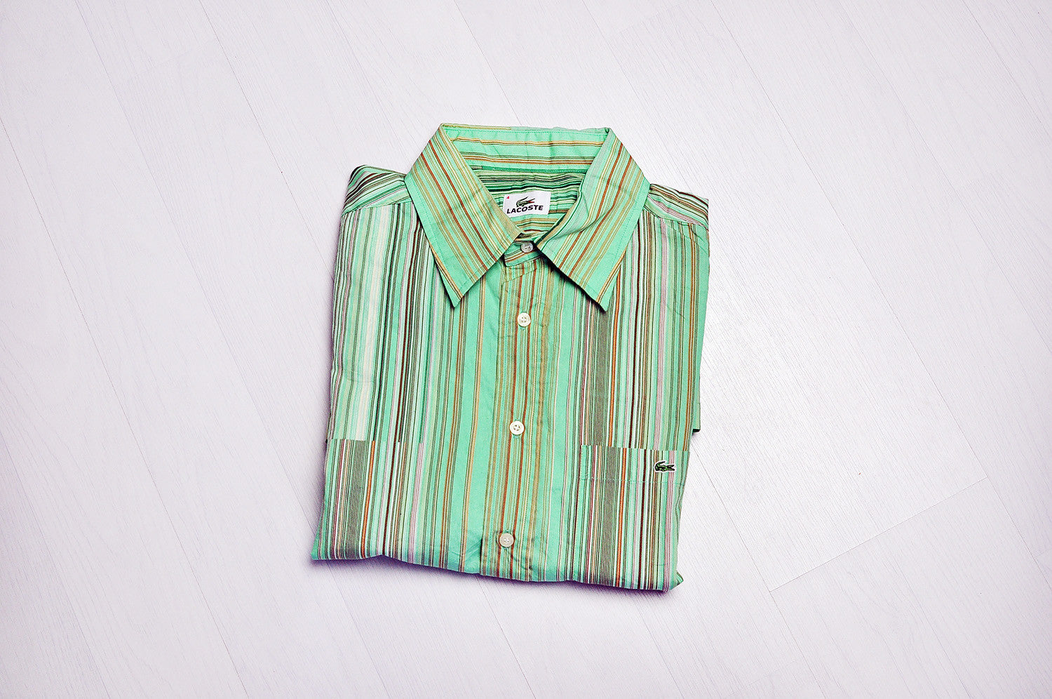 Vintage Lacoste Stripped Green Patterned Short Sleeve Summer Shirt