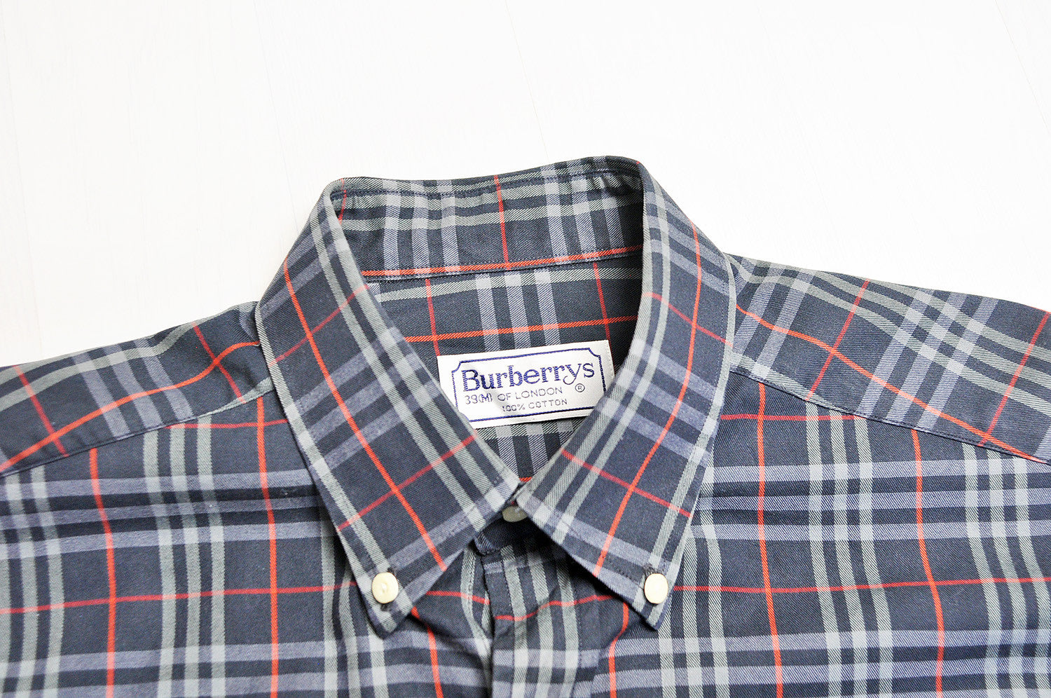 Vintage Burberry Classic Navy Nova Check Long Sleeve Oxford Shirt