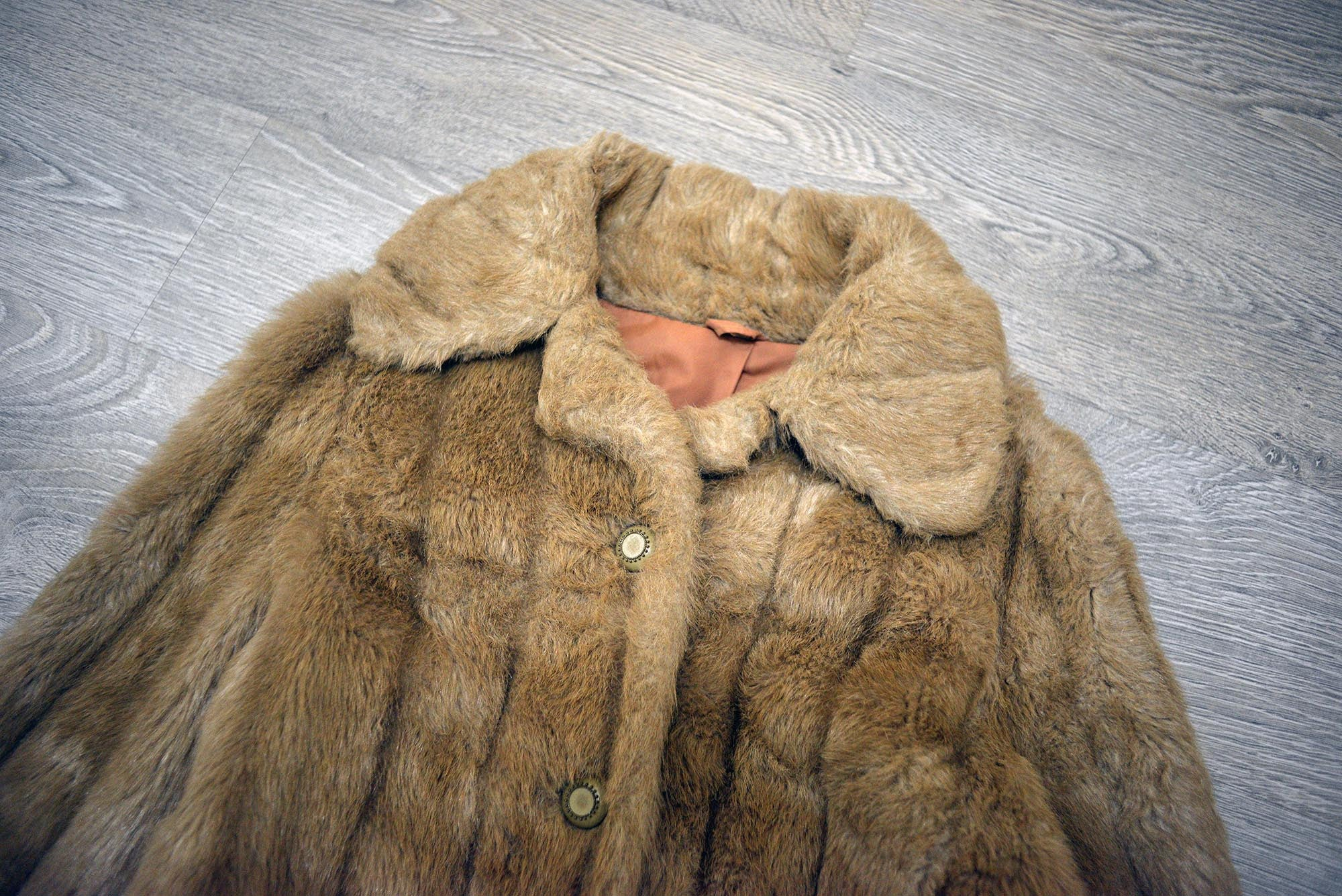 Vintage Tanned Faux Fur Winter Coat Jacket