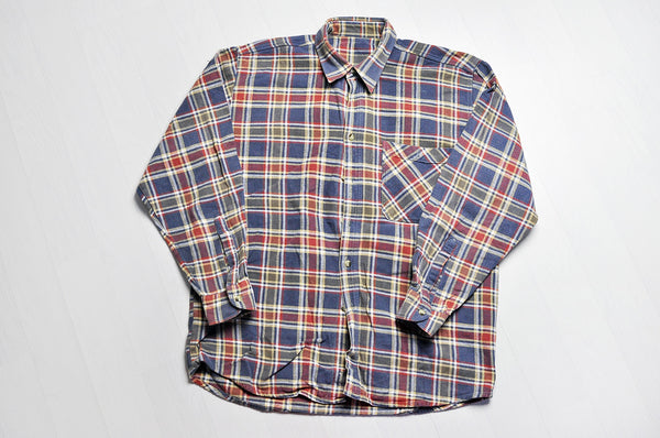 Vintage Blue/Orange Checked Plaid Long Sleeve Shirt