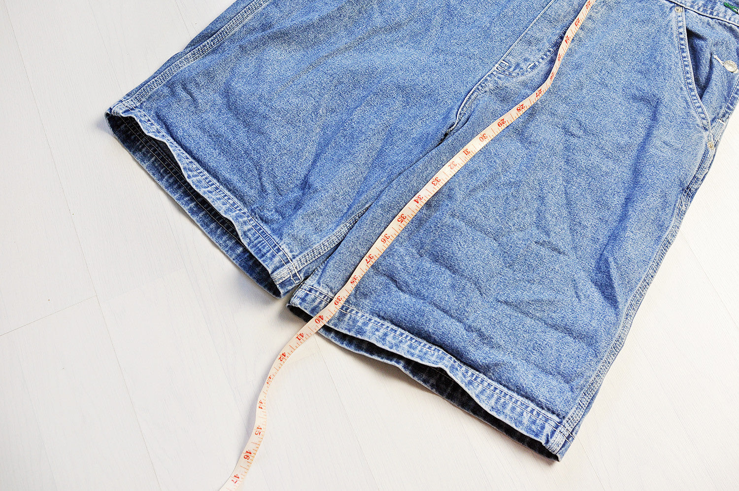 Vintage Tommy Hilfiger Blue Washed Denim Short Dungarees Legs