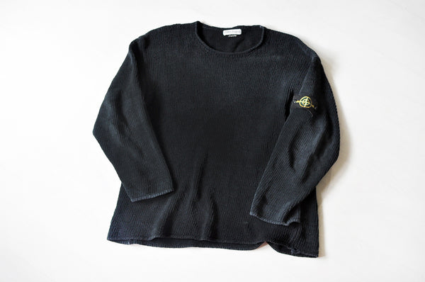 Vintage Stone Island Black Knit Drop Shoulder Jumper
