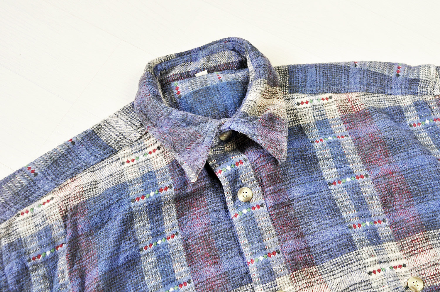 Vintage Purple Plaid Gypsy Checked Patterned Long Sleeve Shirt.