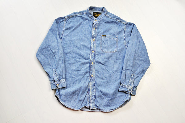 Vintage Wrangler Granddad Collar Blue Denim Long Sleeve Shirt