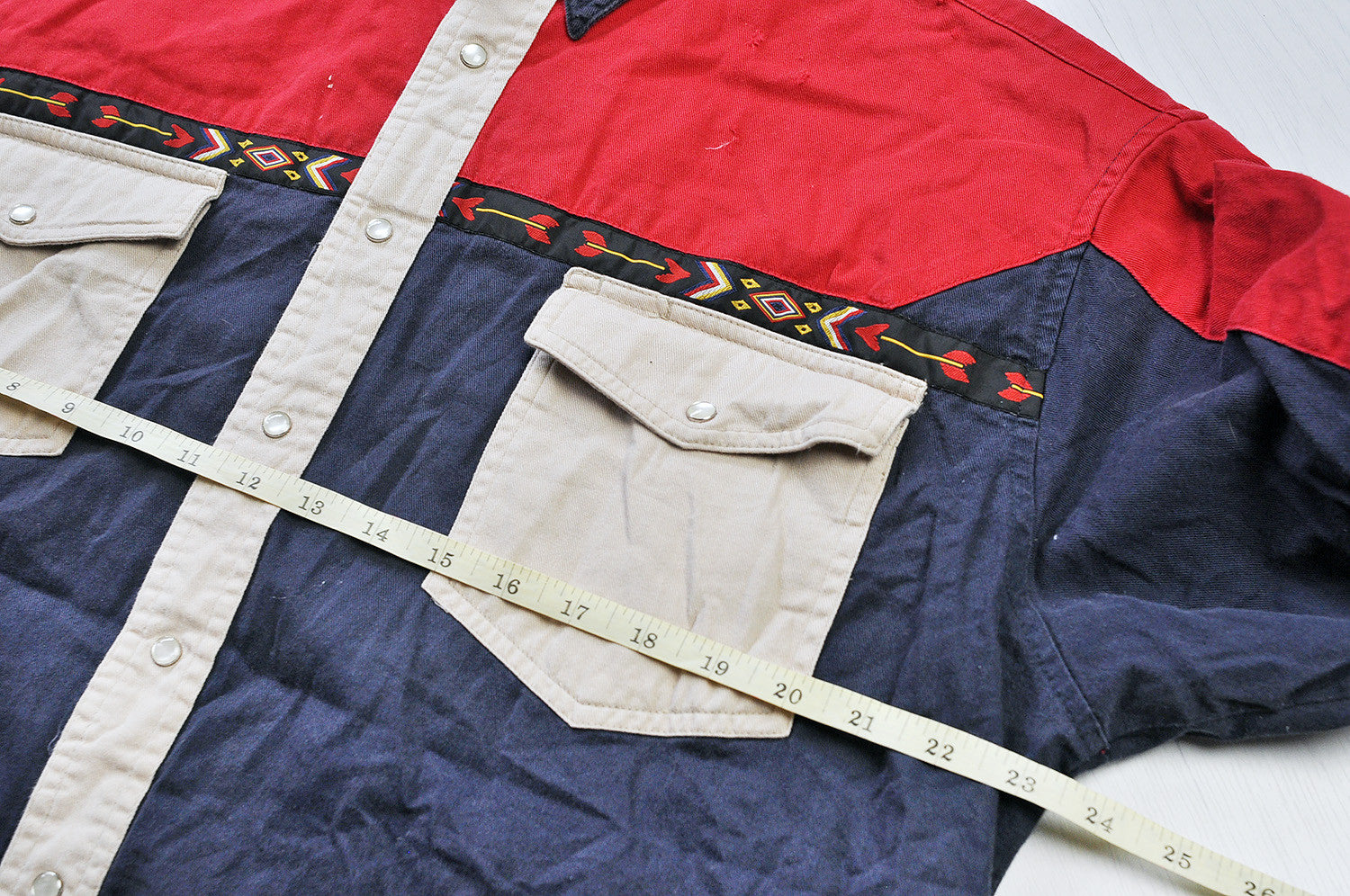 Vintage Wrangler Western Patchwork Long Sleeve Shirt - Navy/Red