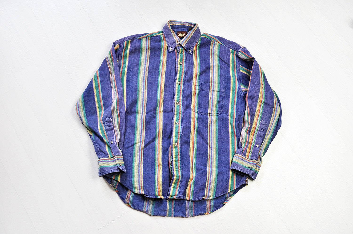 Vintage Multi-coloured Stripped Patterned Plaid Long Sleeve Shirt