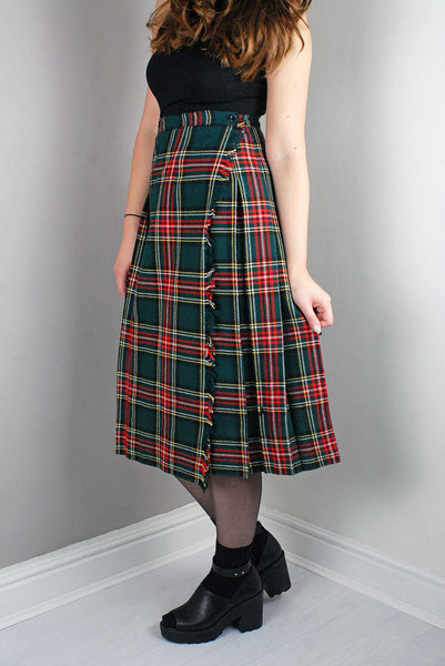 Vintage Green/Red Tartan Pattern Pleated High Waist Length Skirt/Dress Legs
