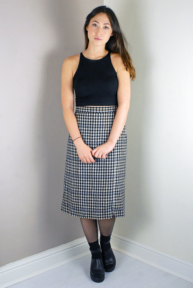 Vintage Dog Tooth Pattern Mixed Wool A-line Pencil Skirt Legs