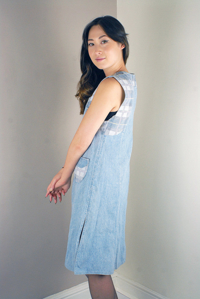 Vintage Denim Long Dungarees Dress