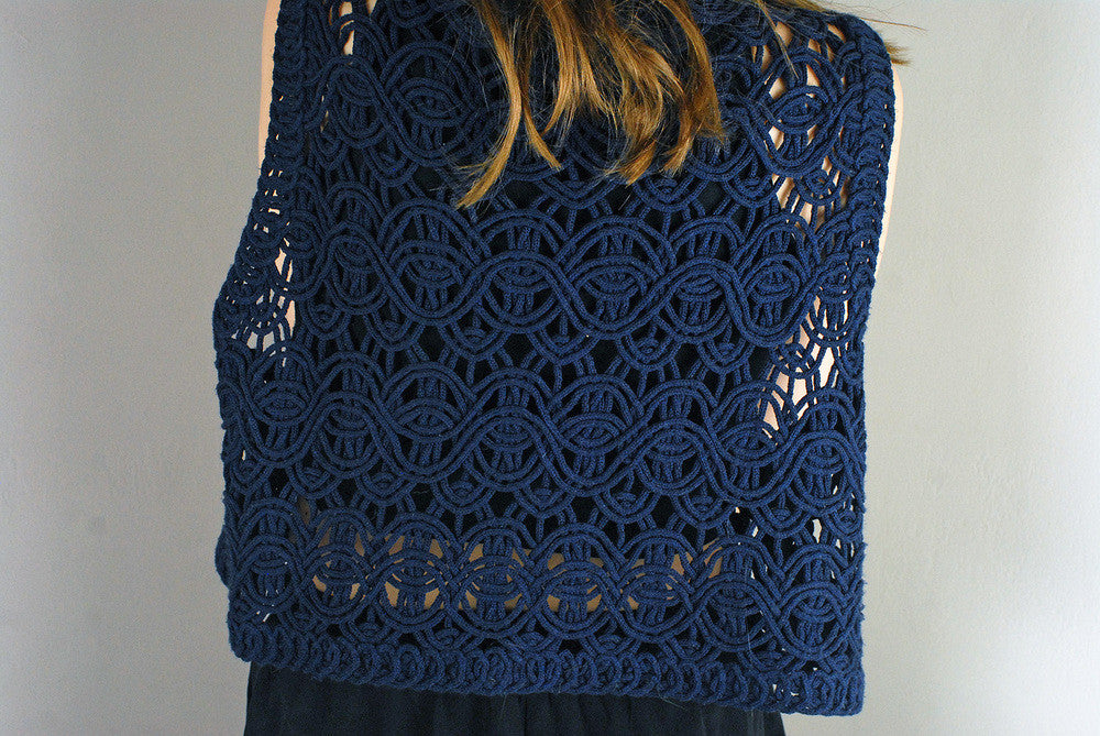 Vintage Mesh Patterned Dark Navy Sleeveless Cardigan/Top
