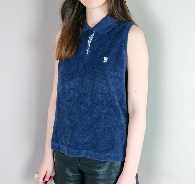 Vintage Thomas Burberry Navy Sleeveless Terry Polo Shirt