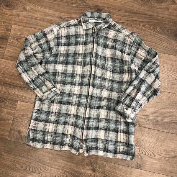 Vintage Mint Green Checkered Plaid Long Sleeve Shirt