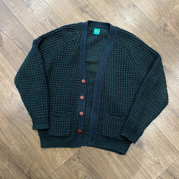 Vintage Heavy Knit Raglan Sleeve Cardigan - Forest Green