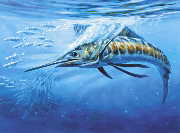 """Blue Bounty""  -  Pacific Sailfish hitting Sardines  -  Original Painting SOLD"
