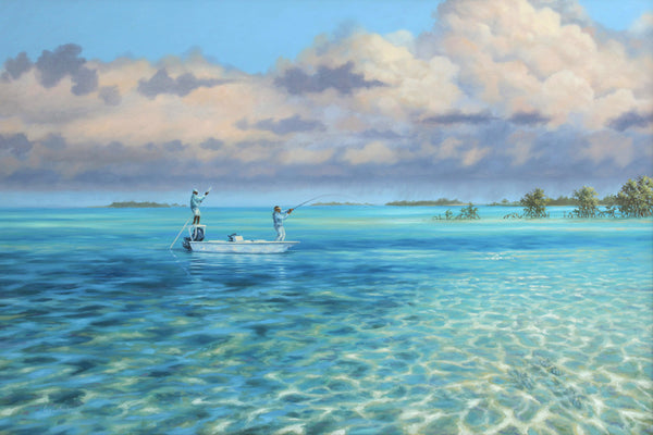 """Drifting the Reef"" - Bonefishing in the Bahamas - Original Painting AVAILABLE"