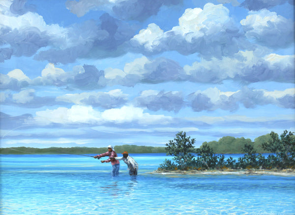 """Sandbar Channel"" - Flyfishing for bonefish  - Original Painting SOLD"
