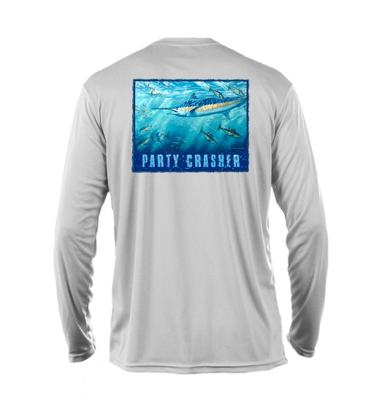 "Outrigger Performance Offshore Fishing Shirt  -  Pearl SilverLong Sleeve -  ""Party Crasher"""