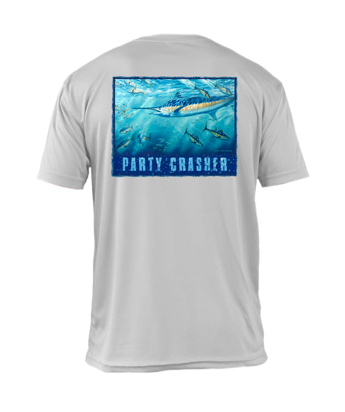 "Outrigger Performance Offshore Fishing Shirt  - Short Sleeve Pearl Silver -  ""Party Crasher"""
