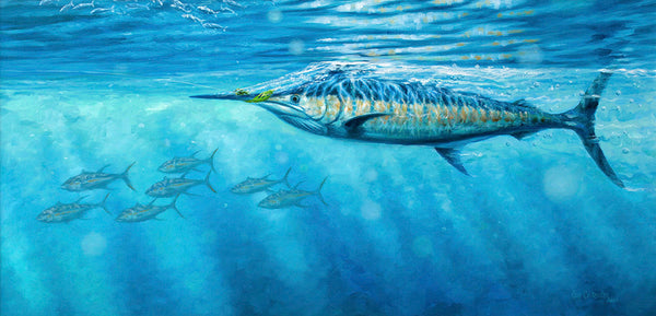 """Snapping the Teaser"" - Blue Marlin  -  Original Painting SOLD"