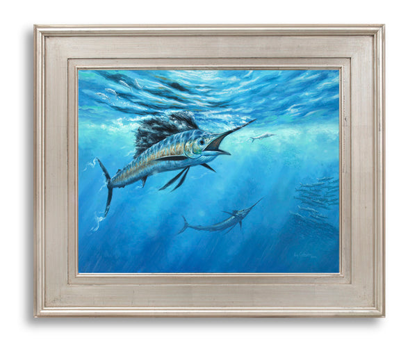 """The Bite""  -  Sailfish rising on Ballyhoo bait - Original Painting Sold"