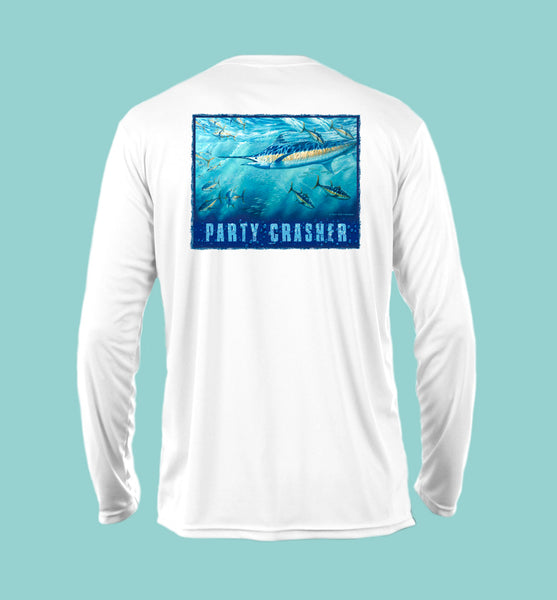 "Outrigger Performance Offshore Fishing Shirt  - White Long Sleeve  -  ""Party Crasher"""