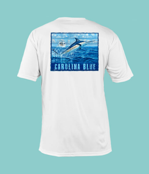"Outrigger Performance Offshore Fishing Shirt - White Short Sleeve - ""Carolina Blue"""