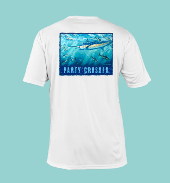 "Outrigger Performance Shirt - Short Sleeve ""Party Crasher"" - White"