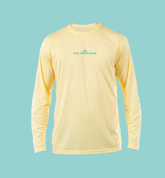 "Outrigger Performance Offshore Fishing Shirt  -  Pale Yellow Long Sleeve  -  ""Party Crasher"""
