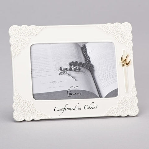 "6"" White Confirmation Photo Frame"